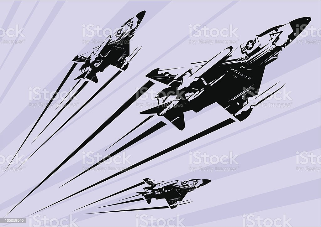 Phantom F-4 fighter jet stencil vector art illustration