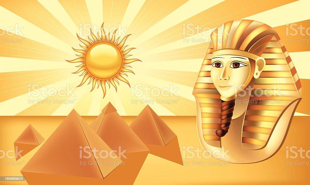 Pharaoh and pyramids royalty-free stock vector art