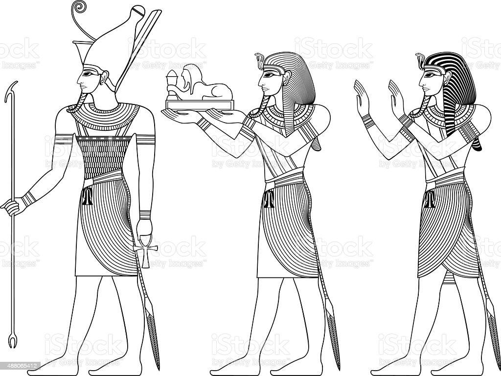 Pharaoh , egyptian ancient symbol vector art illustration