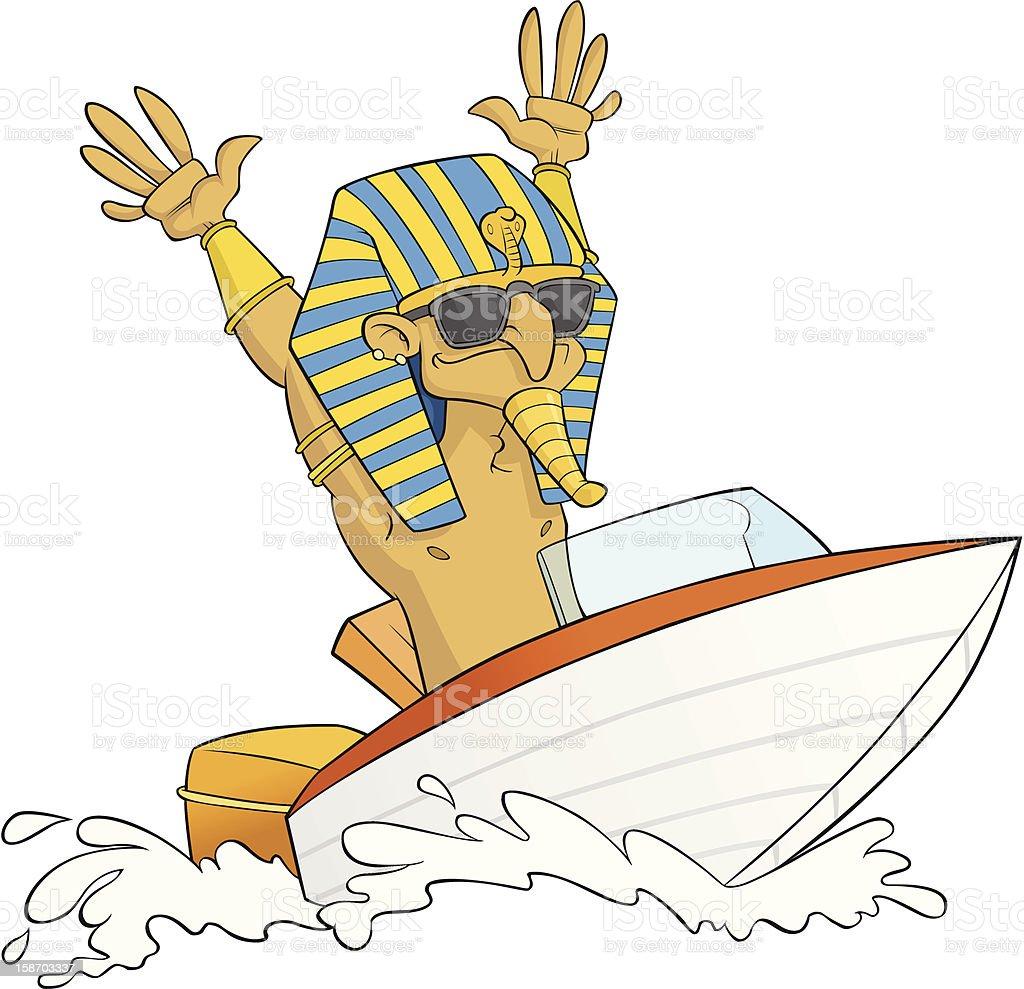 Pharaoh on Speed Boat royalty-free stock vector art