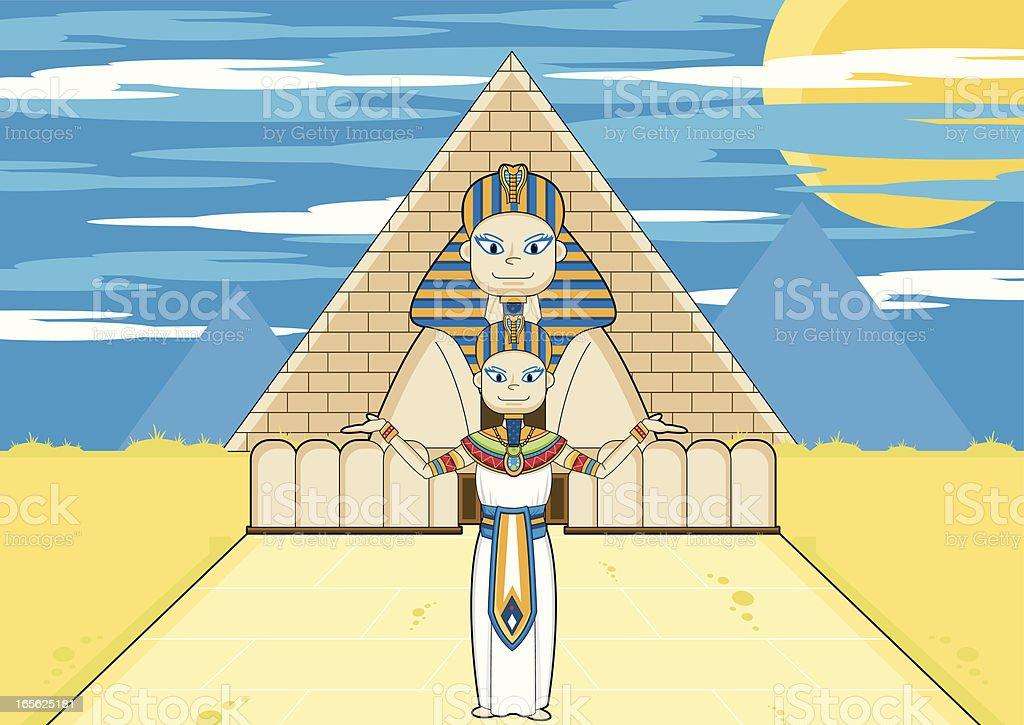 Pharaoh & Sphinx with Pyramid royalty-free stock vector art