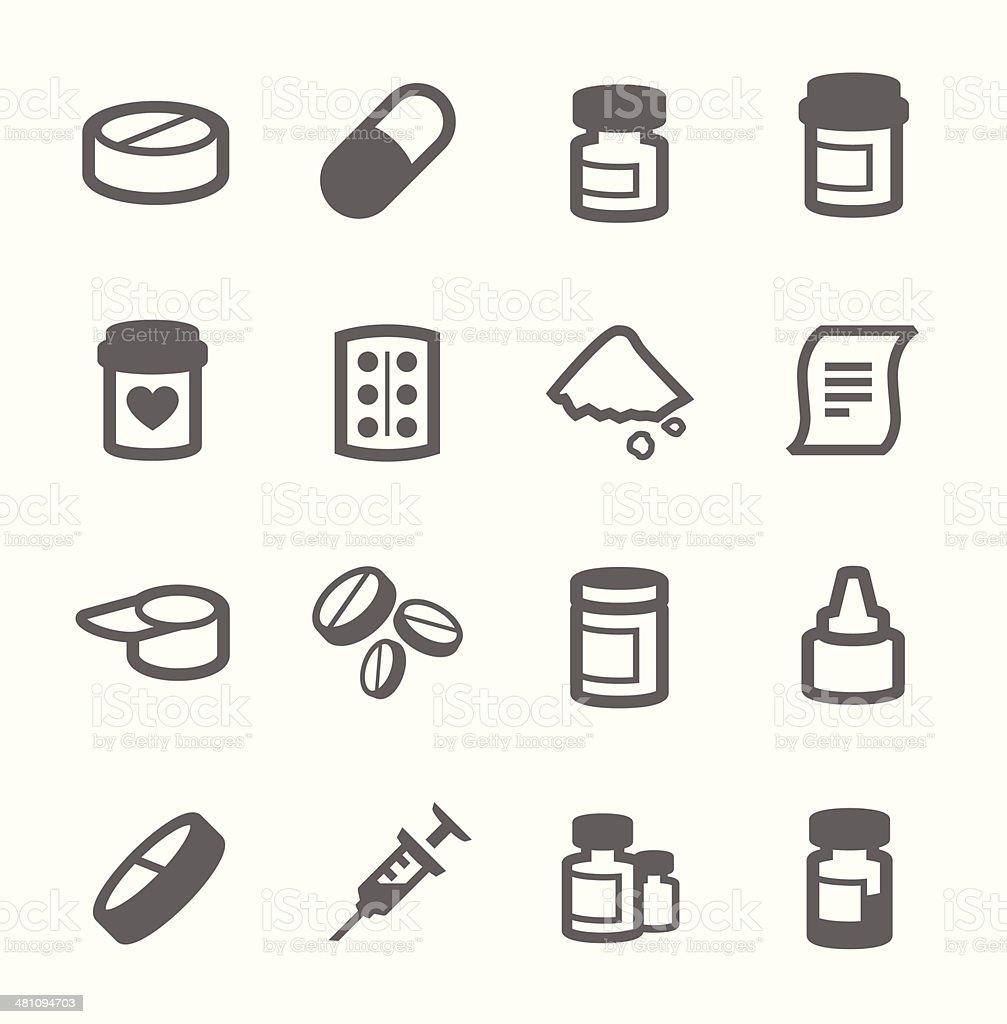 Pharma icons vector art illustration