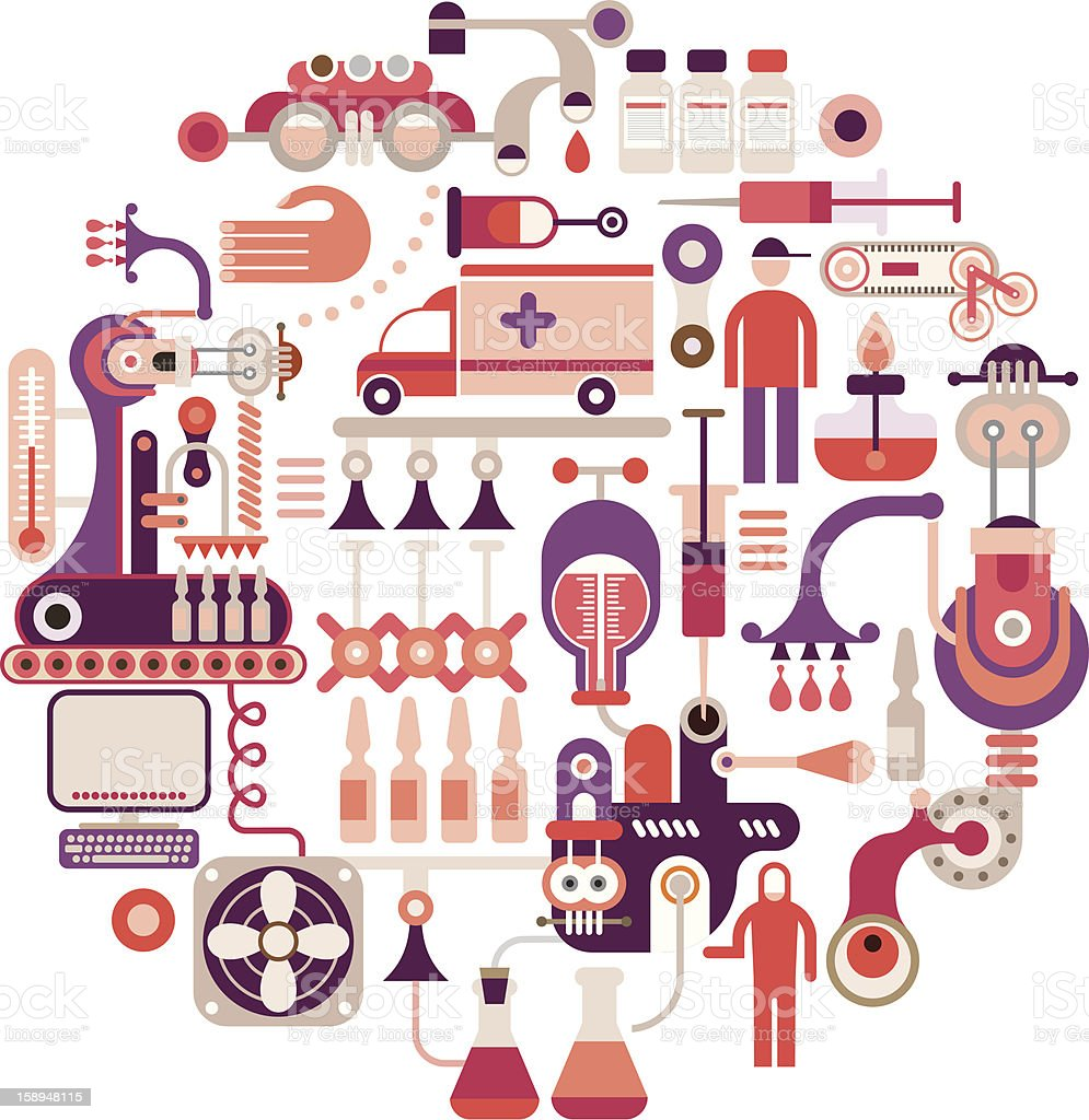 Pharmaceutical factory - vector illustration stock photo