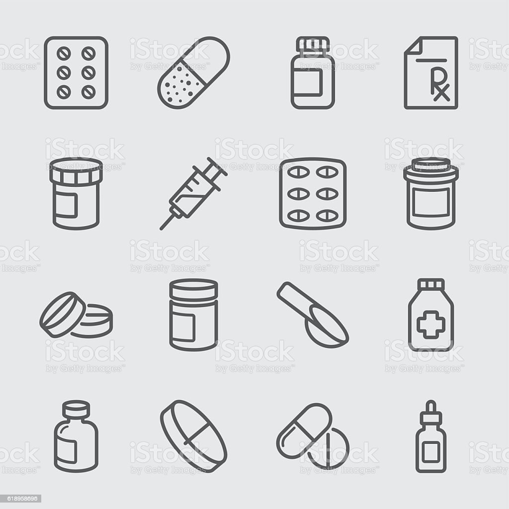 Pharmaceutical line icon vector art illustration