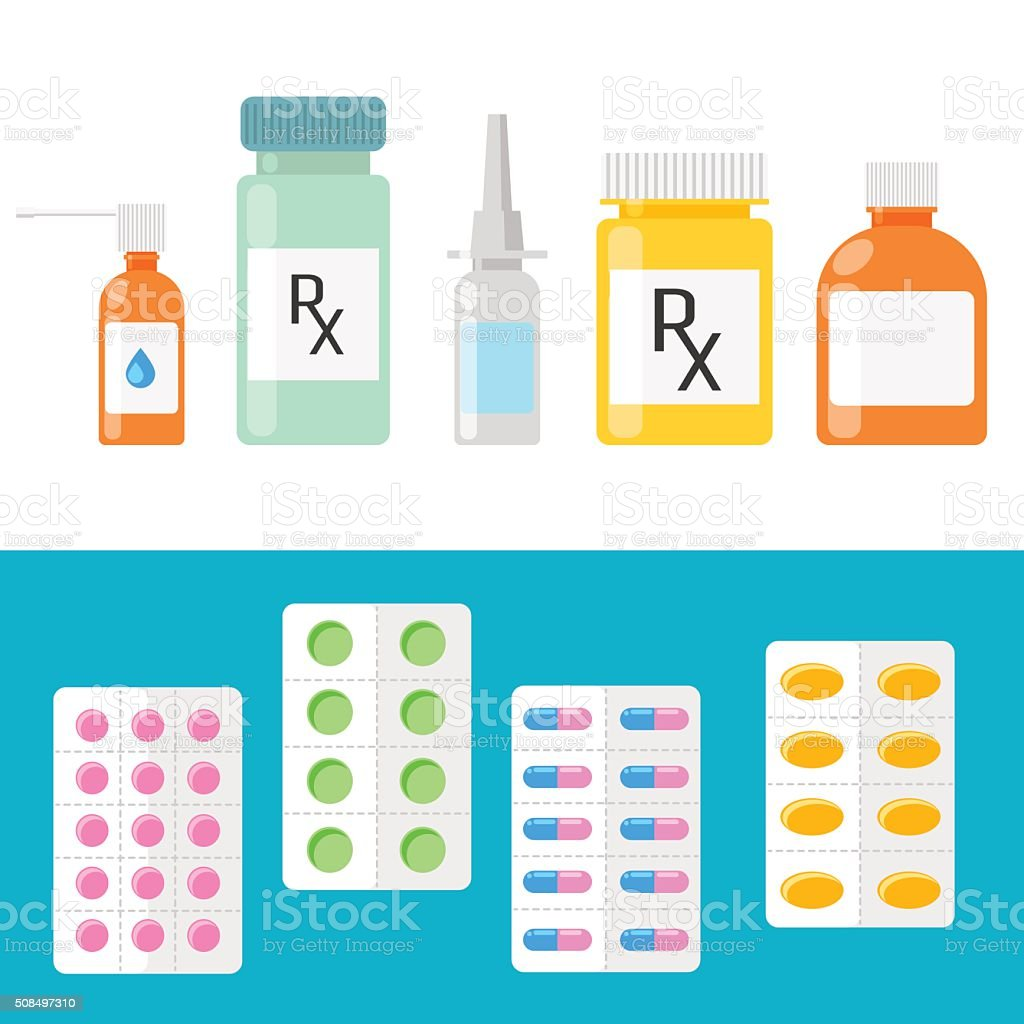 Pharmaceutical products. Pills, capsules and bottles vector art illustration