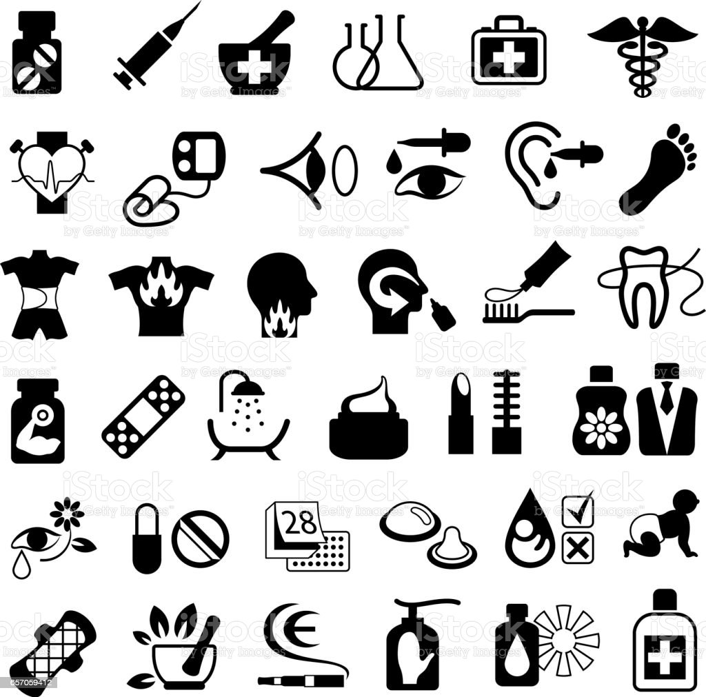 Pharmacy and Drugstore Icons vector art illustration