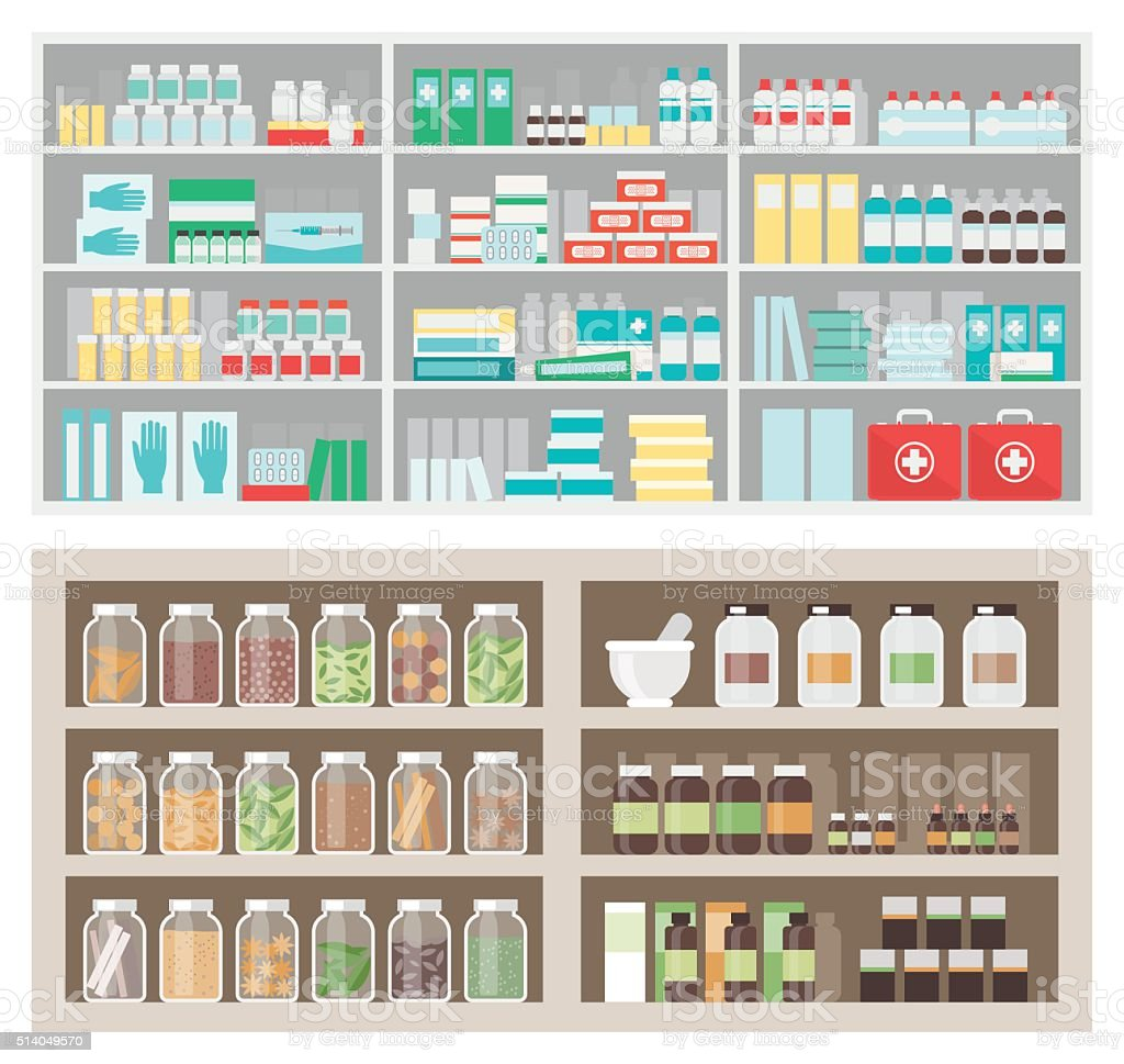 Pharmacy and herbalist's shop vector art illustration