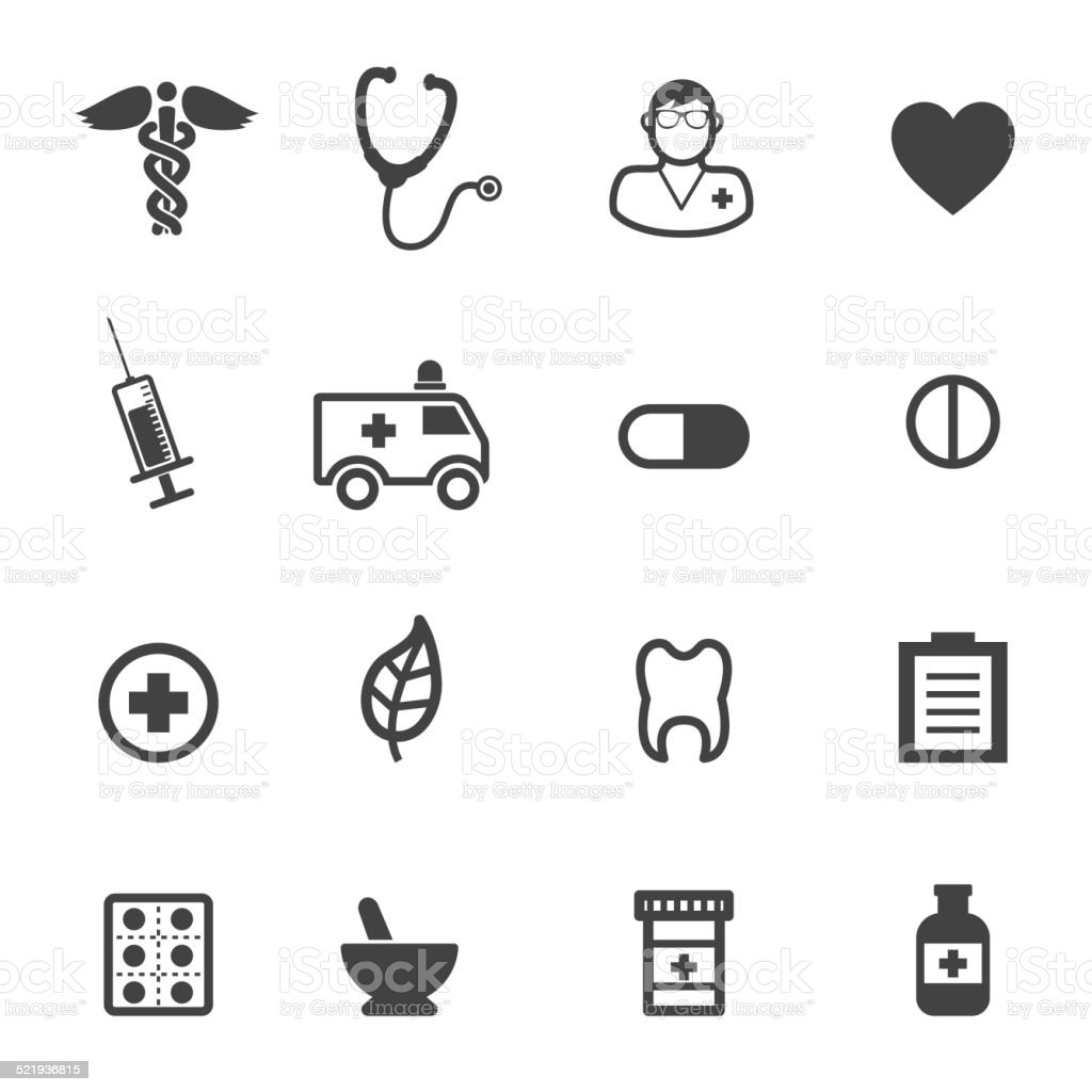pharmacy and medical icons vector art illustration
