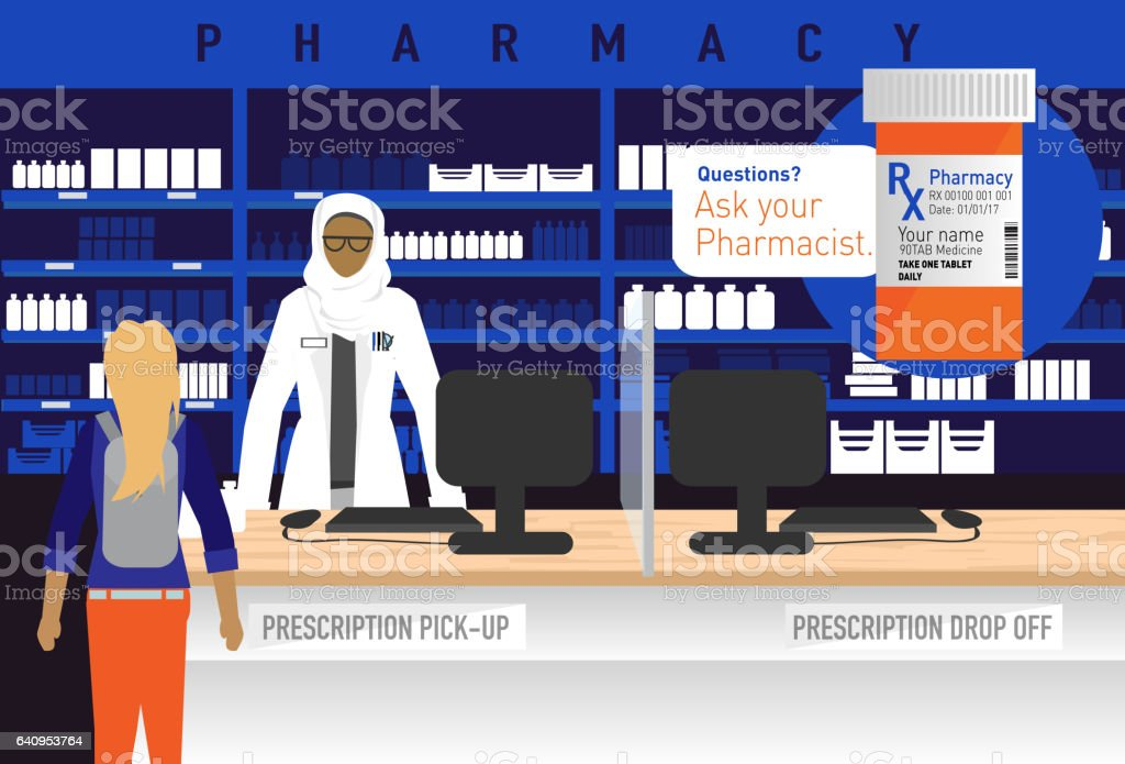 Pharmacy concept with Female muslim Pharmacist wearing hijab vector art illustration
