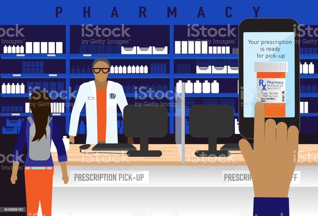 Pharmacy concept with smart phone medical prescription ordering app vector art illustration