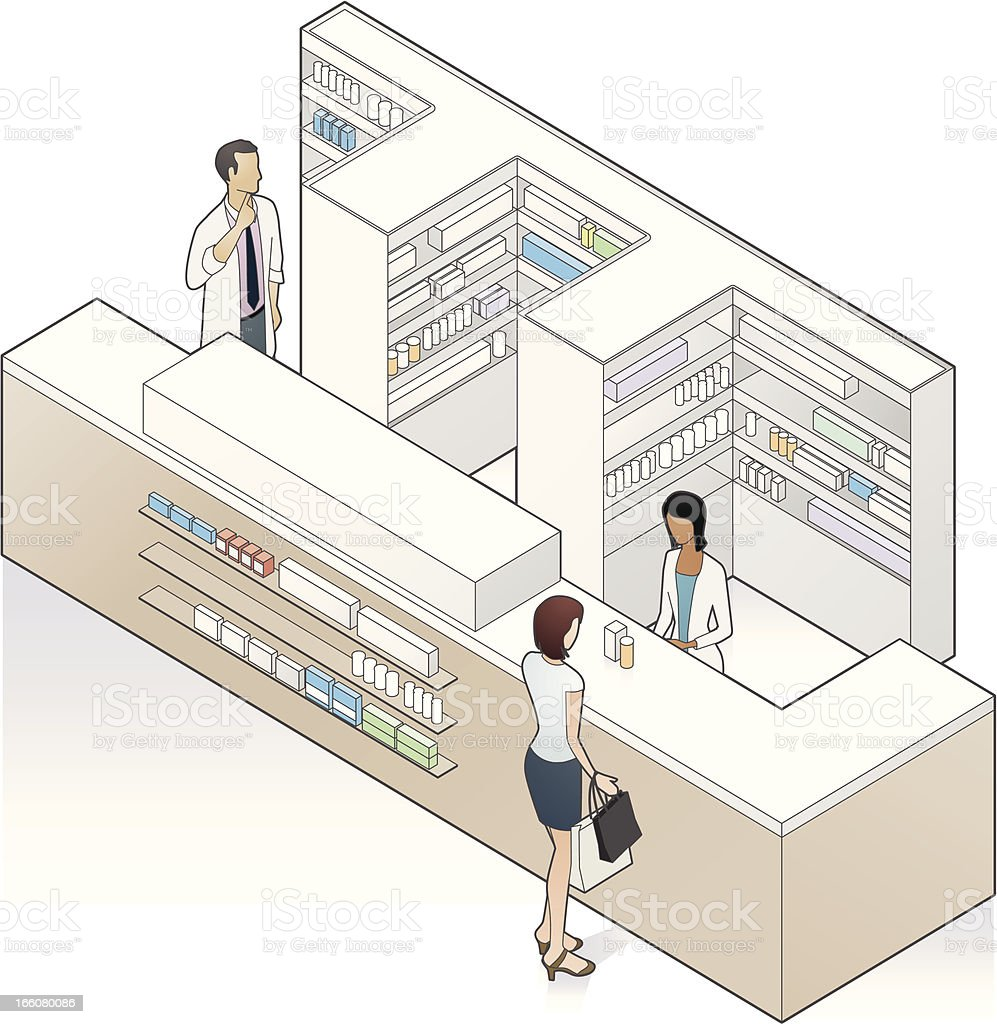 Pharmacy Counter Illustration royalty-free stock vector art
