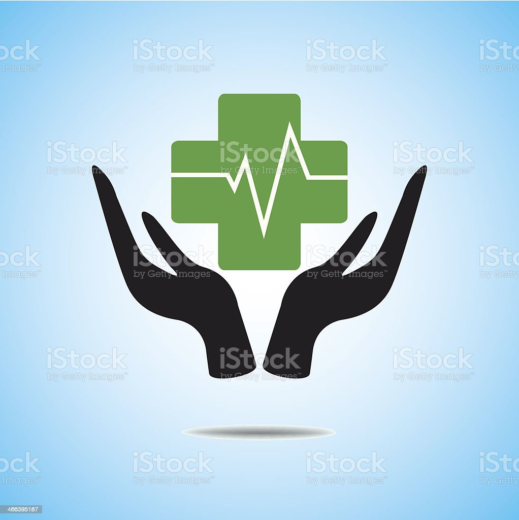 pharmacy cross and Heartbeat icon vector royalty-free stock vector art