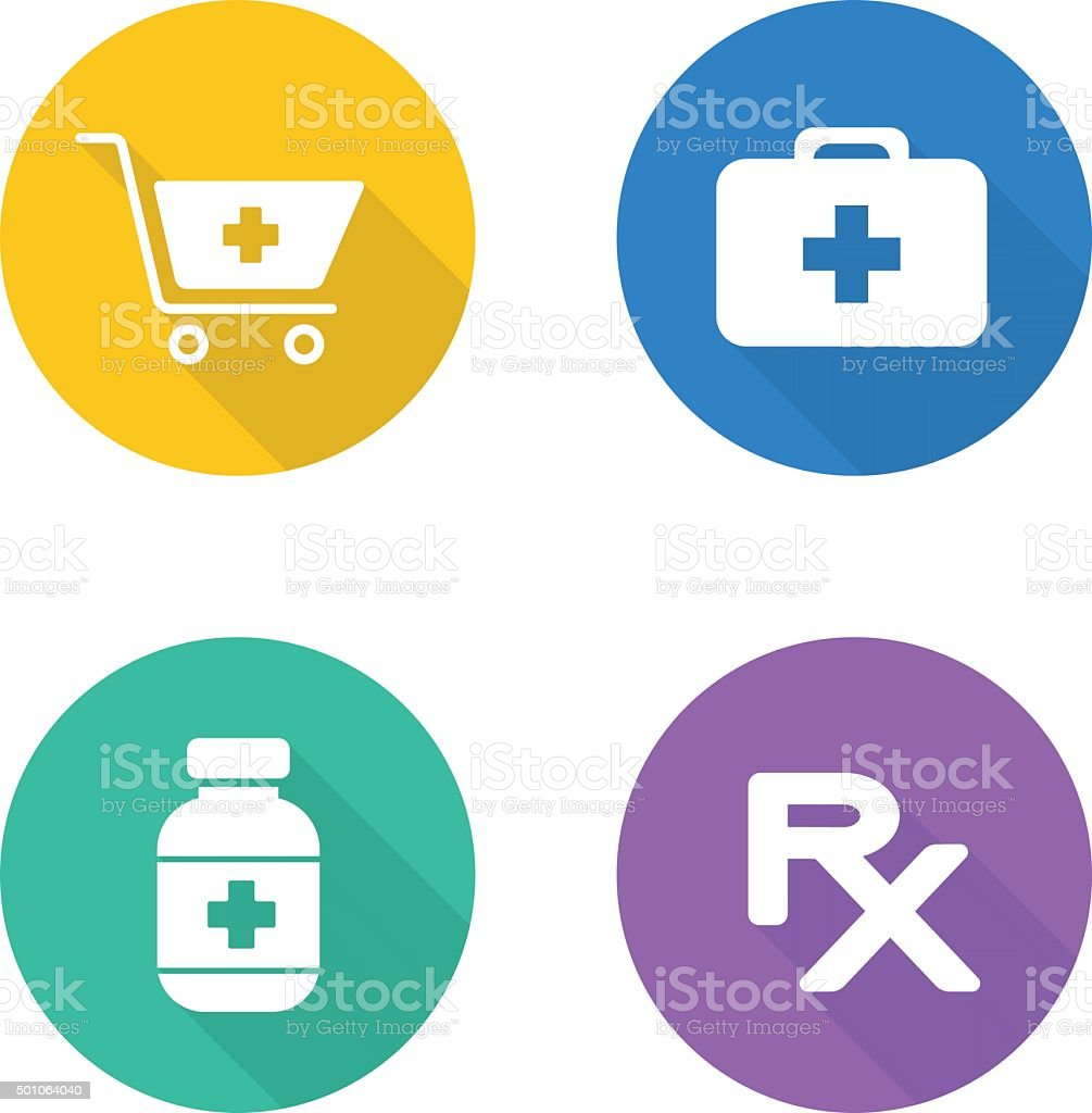 Pharmacy flat design icons set vector art illustration