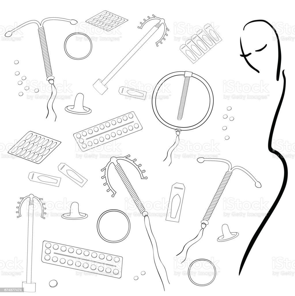 pharmacy girl Contraceptives vector art illustration