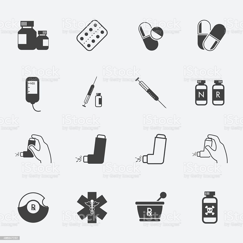 Pharmacy Icons and Medical Icons set. vector art illustration