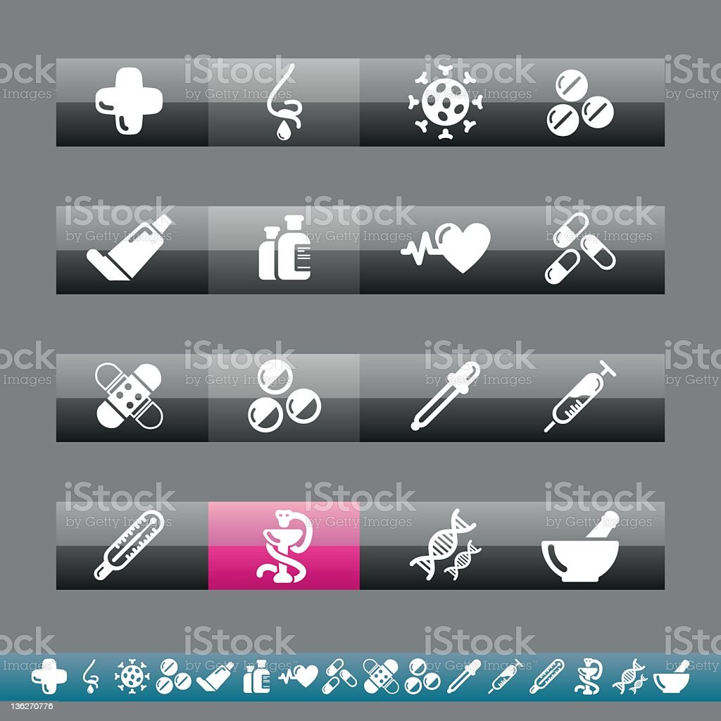 Pharmacy Icons | Grey And Pink royalty-free stock vector art