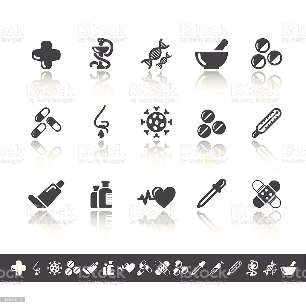 Pharmacy Icons | Simple Grey royalty-free stock vector art