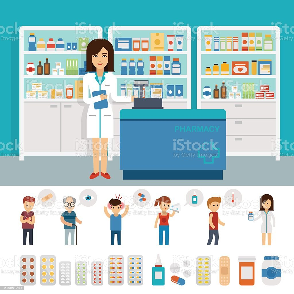 Pharmacy infographic elements and flat banner design vector art illustration