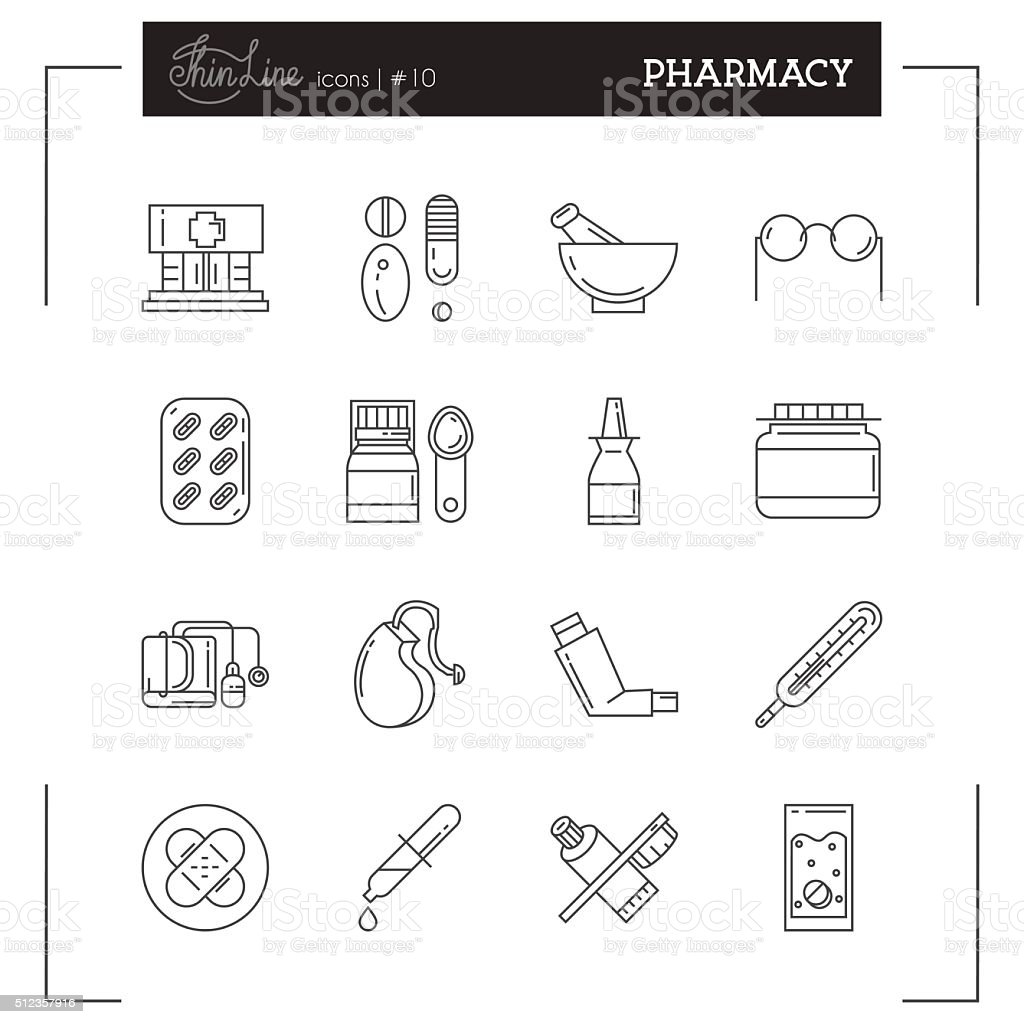 Pharmacy, Medications, Tablets and more thin line icons set. vector art illustration