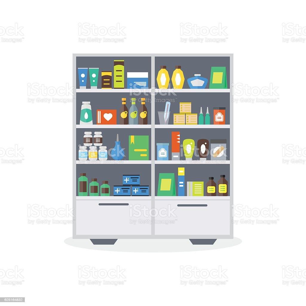 Pharmacy Showcase or Shop Shelves. Vector vector art illustration