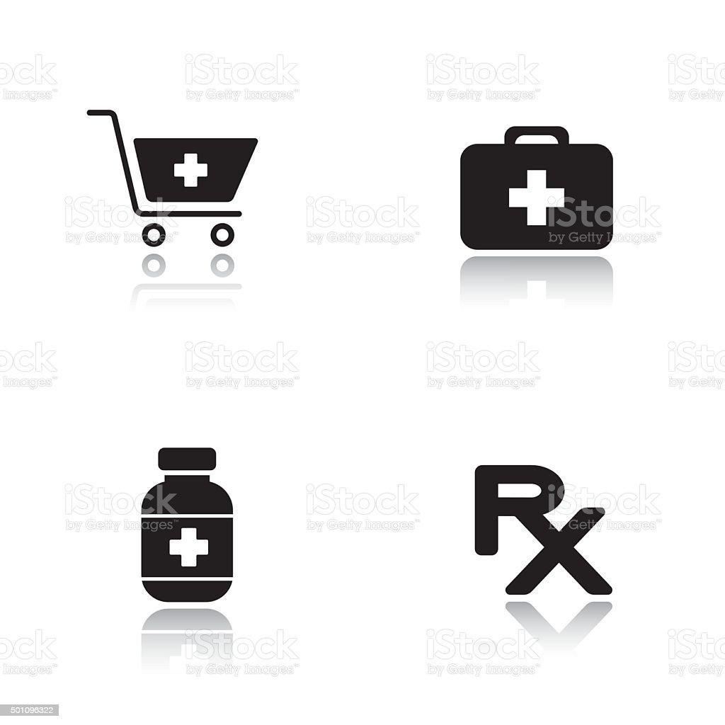 Pharmacy website drop shadow icons set vector art illustration
