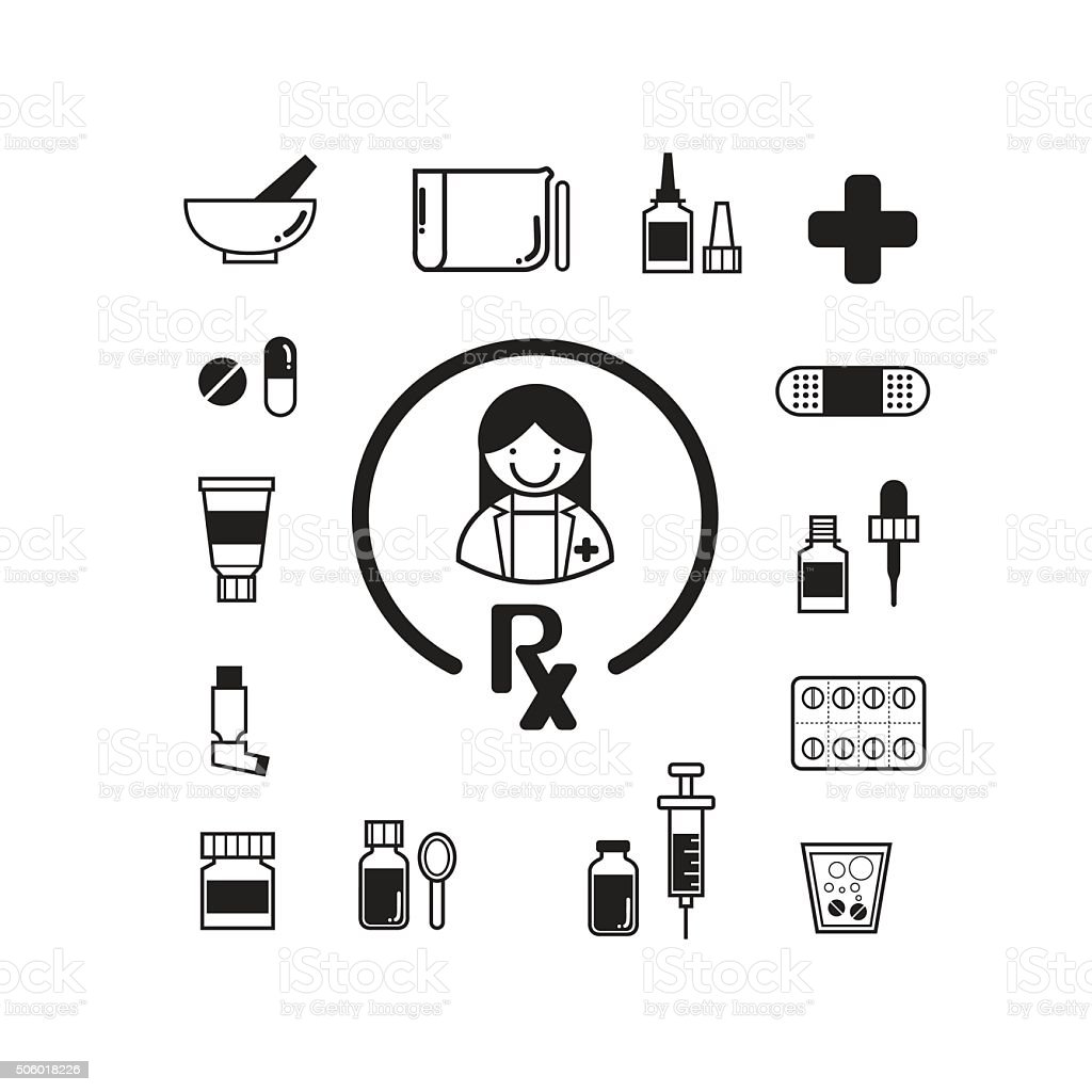 Pharmarcy icons set vector art illustration