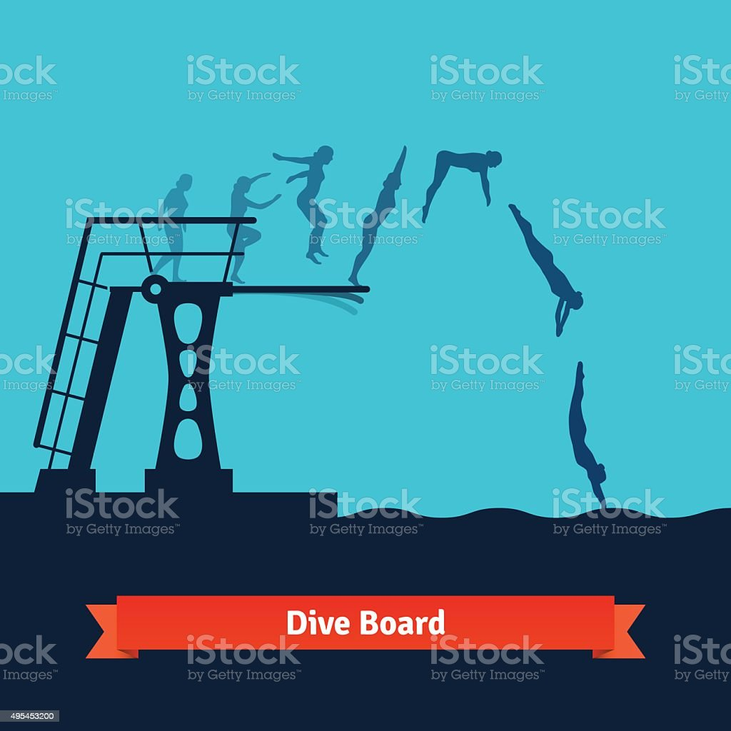 Phases of a man jumping into the water vector art illustration