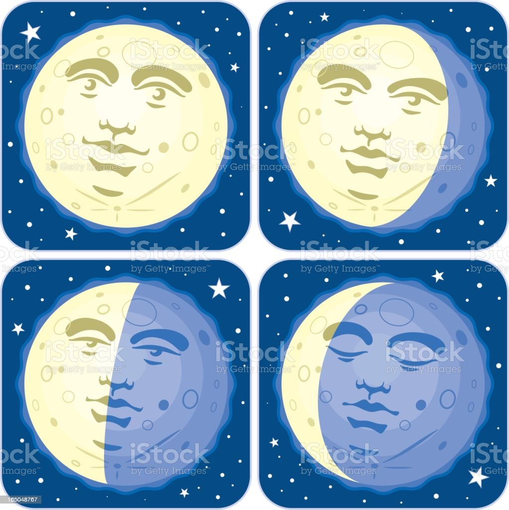 Phases (Faces) of the Moon vector art illustration