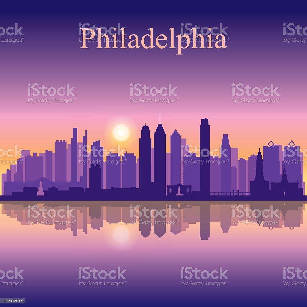 Philadelphia city skyline silhouette background vector art illustration