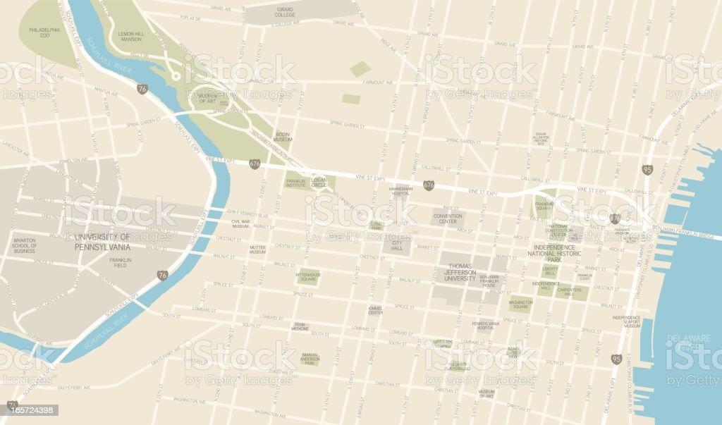 Philadelphia Downtown Map vector art illustration