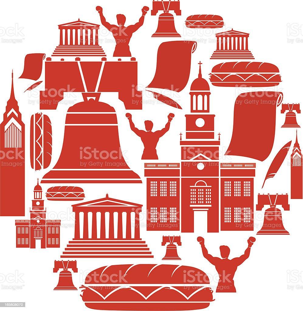 Philadelphia Icon Montage royalty-free stock vector art
