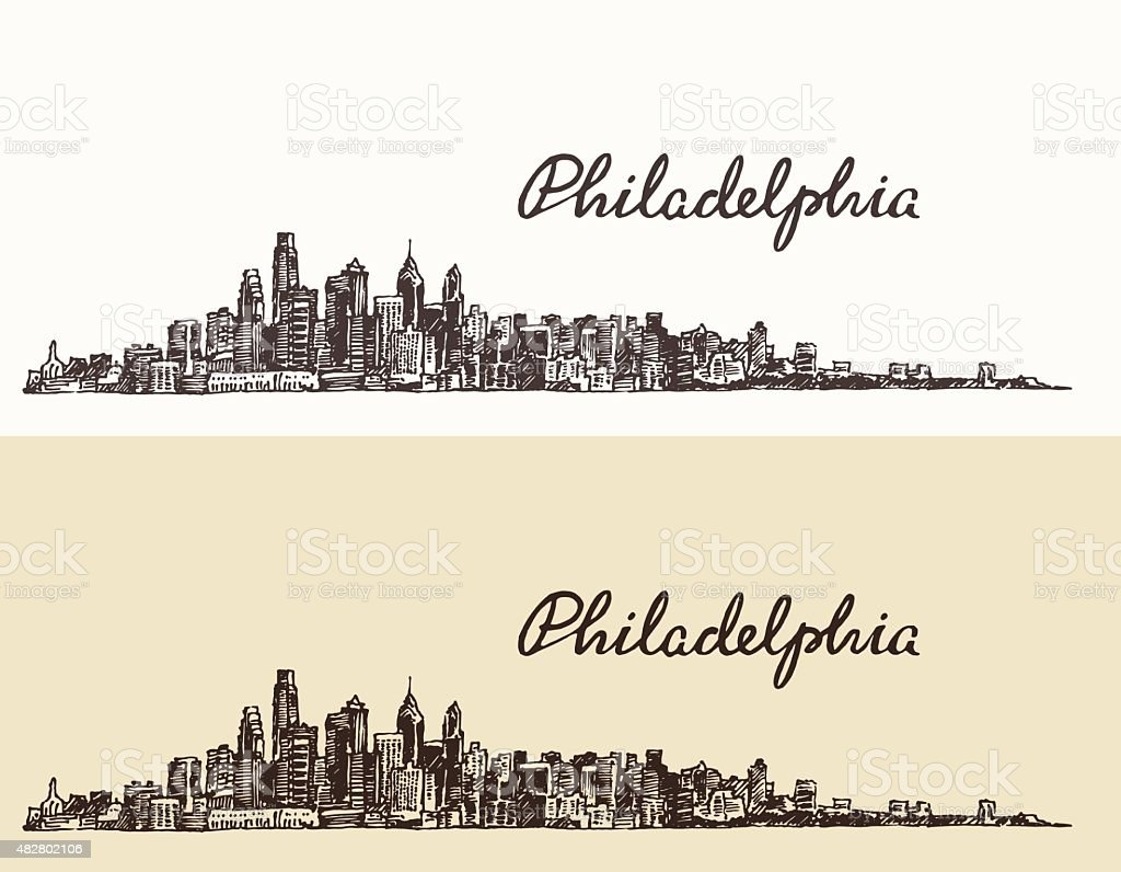 Philadelphia skyline hand drawn sketch Vector vector art illustration