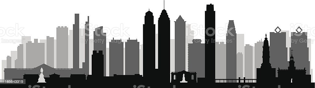 Philadelphia skyline on black and grey vector art illustration