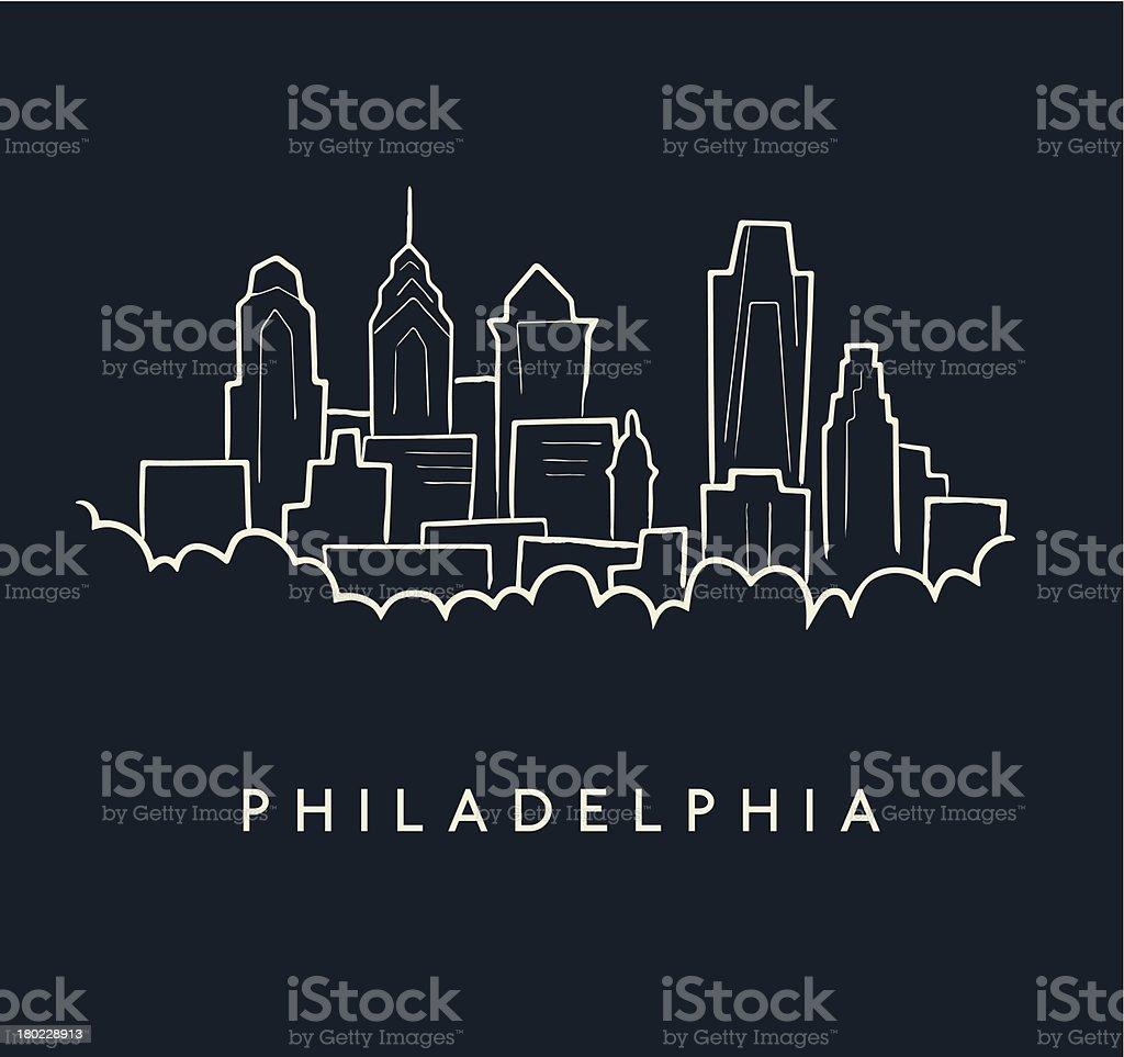 Philadelphia Skyline Sketch vector art illustration