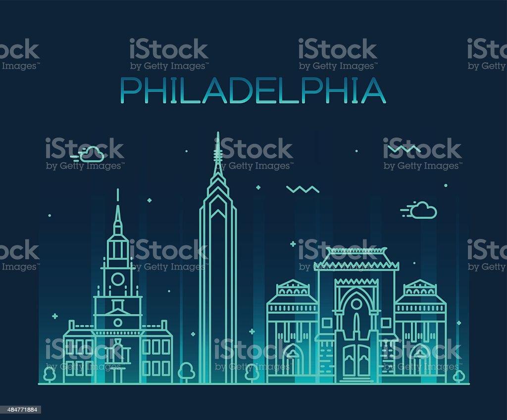 Philadelphia skyline trendy vector linear style vector art illustration