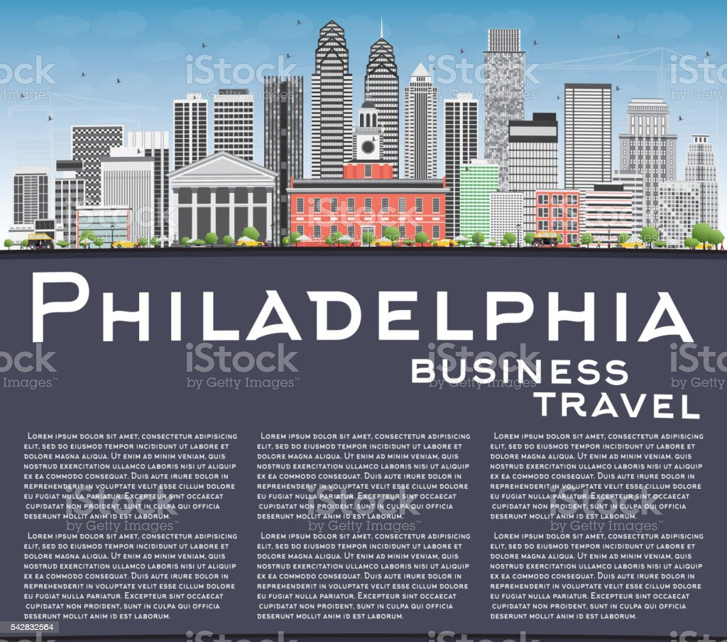 Philadelphia Skyline with Gray Buildings, Blue Sky and Copy Spac vector art illustration