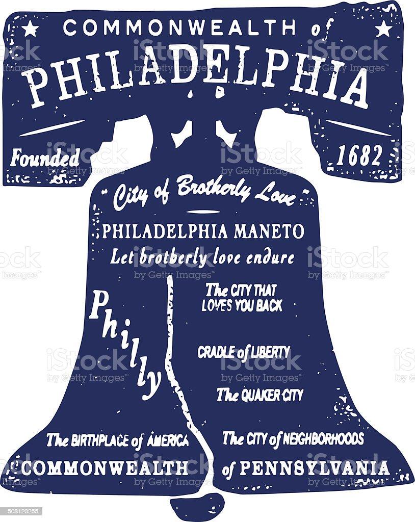 Philadelphia Type Stamp vector art illustration