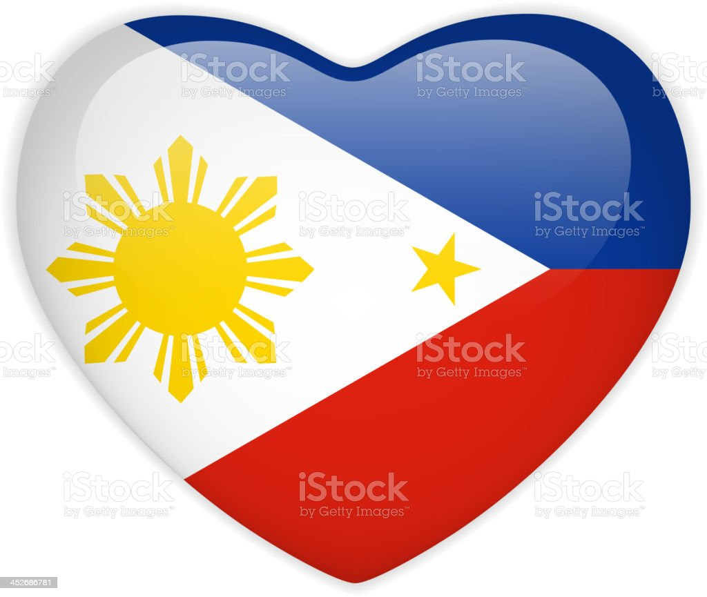 Philippines Flag Heart Glossy Button royalty-free stock vector art