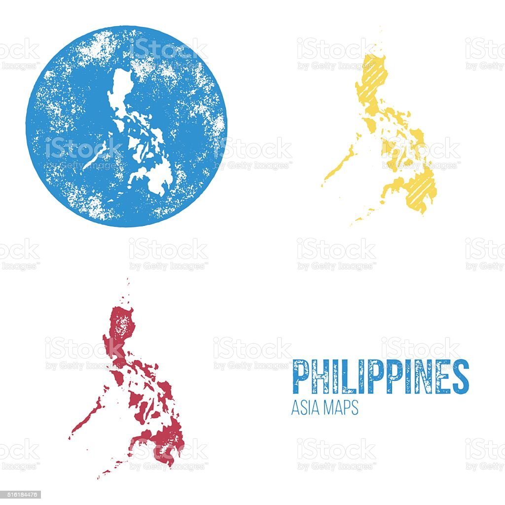 Philippines Grunge Retro Maps - Asia vector art illustration