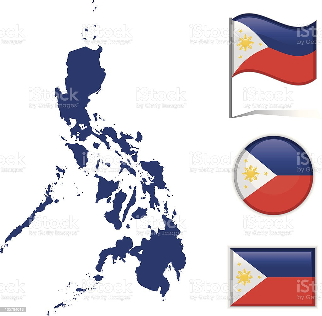 Philippines map & flag vector art illustration