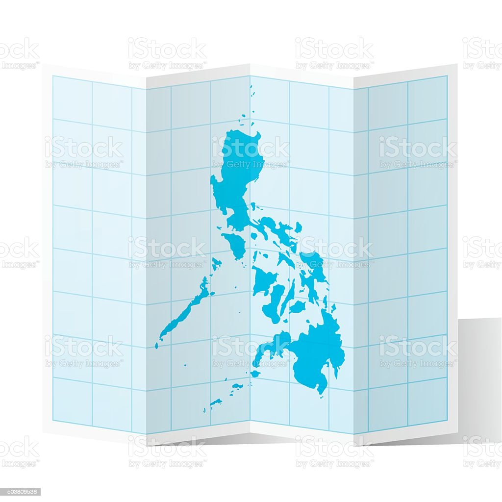 Philippines Map folded, isolated on white Background vector art illustration