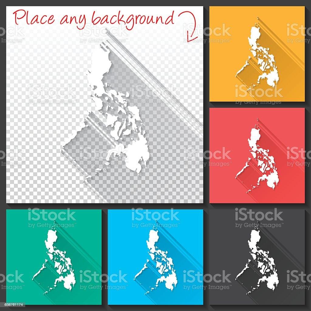 Philippines Map for design, Long Shadow, Flat Design vector art illustration
