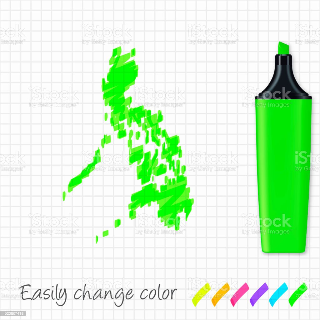 Philippines map hand drawn on grid paper, green highlighter vector art illustration