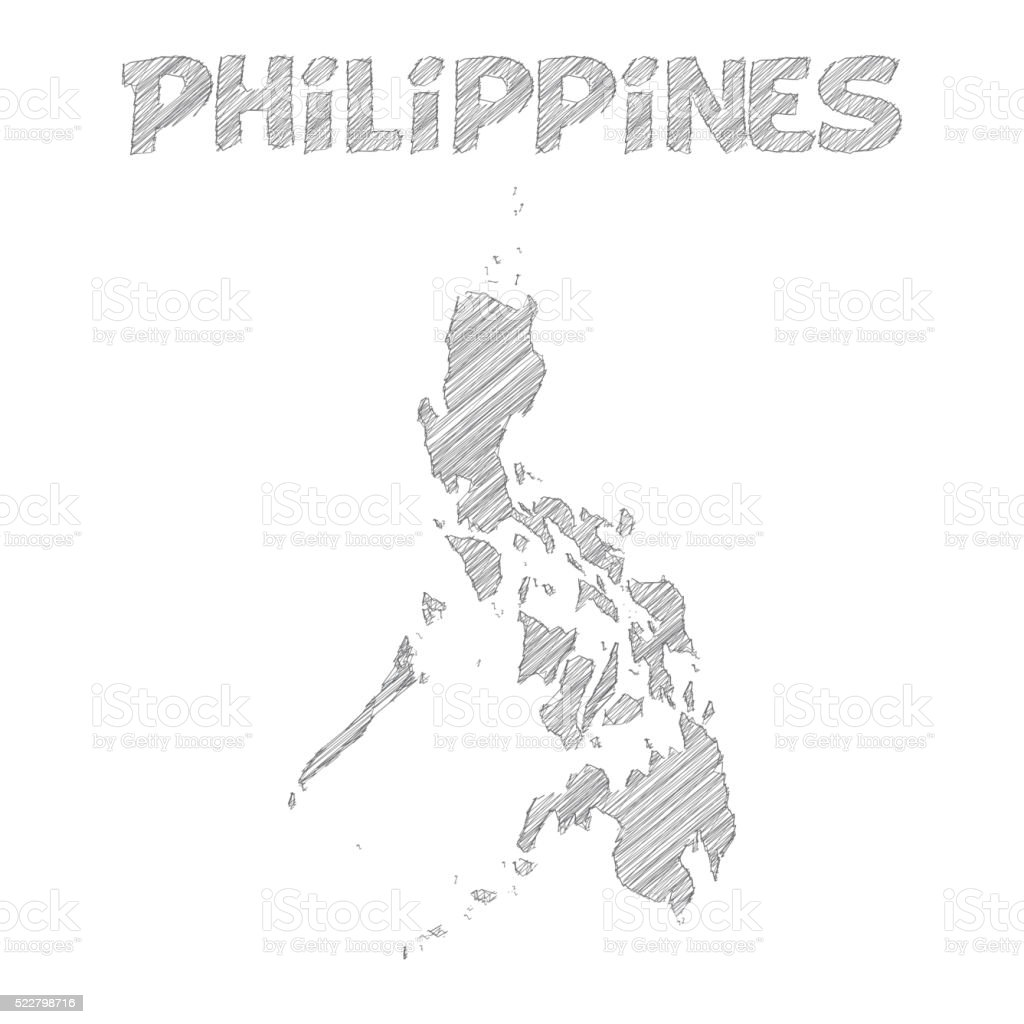 Philippines map hand drawn on white background vector art illustration