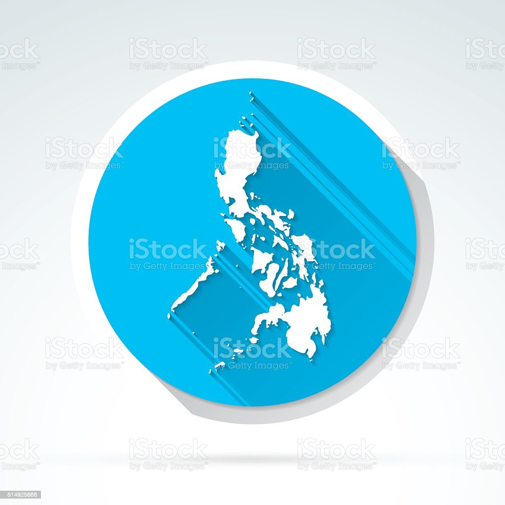 Philippines map icon, Flat Design, Long Shadow vector art illustration