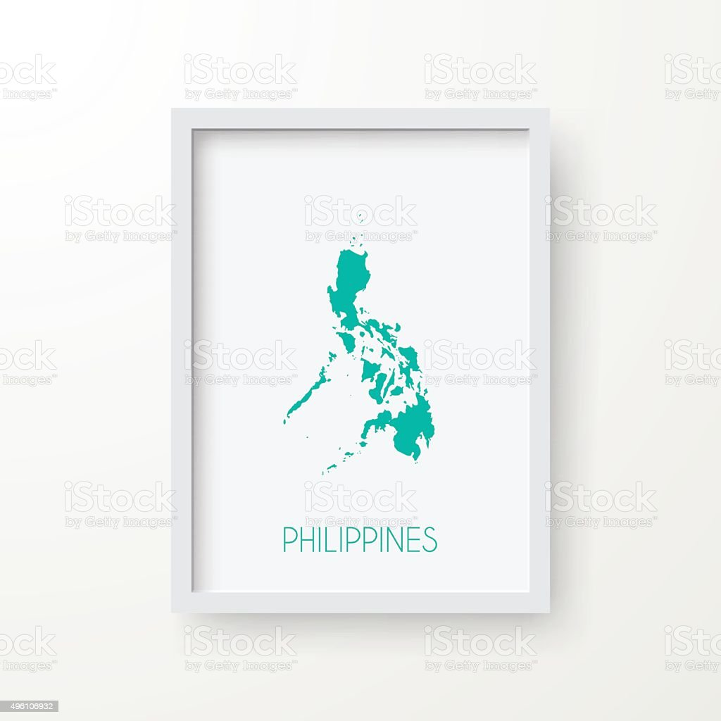 Philippines Map in Frame on White Background vector art illustration
