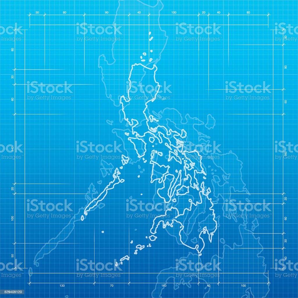 Philippines map on blueprint background vector art illustration
