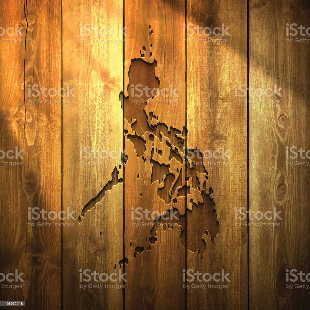 Philippines Map on lit Wooden Background vector art illustration