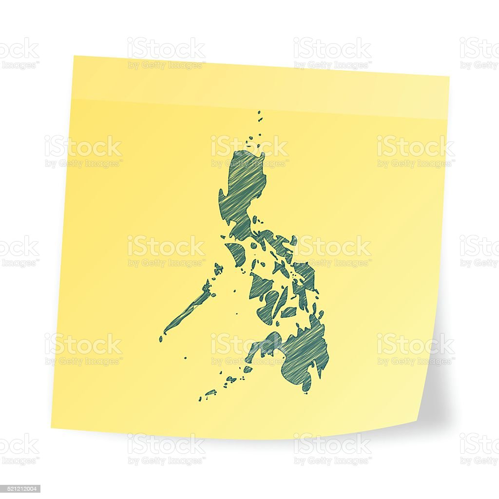 Philippines map on sticky note with scribble effect vector art illustration