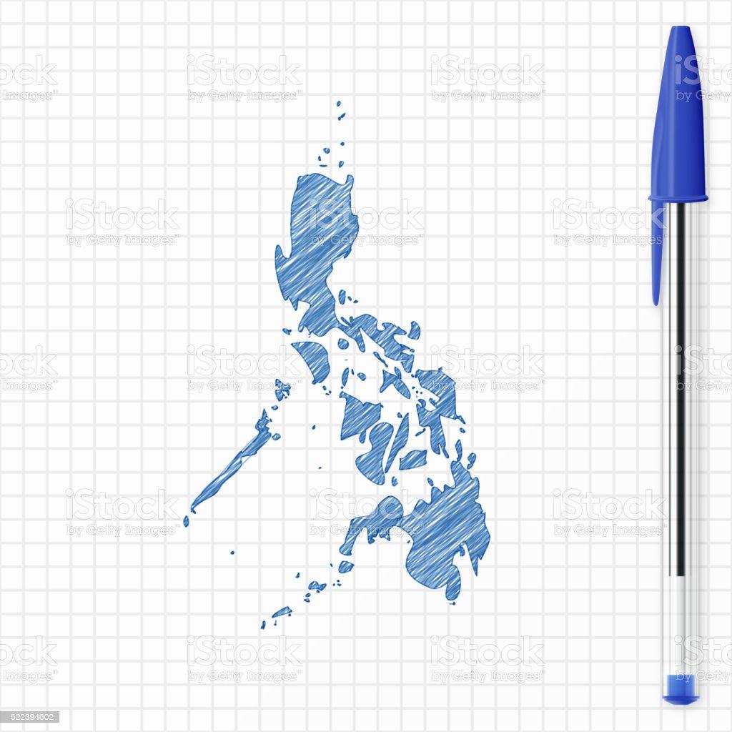 Philippines map sketch on grid paper, blue pen vector art illustration